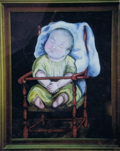 Baby in red chair