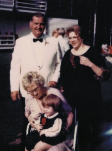 Dad, me, Grammie and Diana at Bob's Wedding