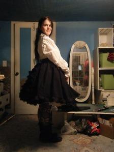Kat black bustle skirt