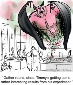 'Gather round, class. Timmy's getting some rather interesting results from his experiment.'