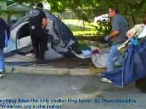 police cutting homeless tents